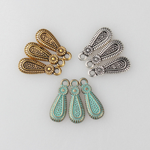 30pcs 20MM Retro Verdigris Patina Plated Zinc Alloy Green Water Drop Shape End Bead Charms pendants For DIY Jewelry Accessories
