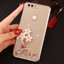 Fashional Luxury Rhinestone Style Phone Case For Huawei Honor8,Transparent Diamond Cell Phone Case Shell For Huawei Honor 8