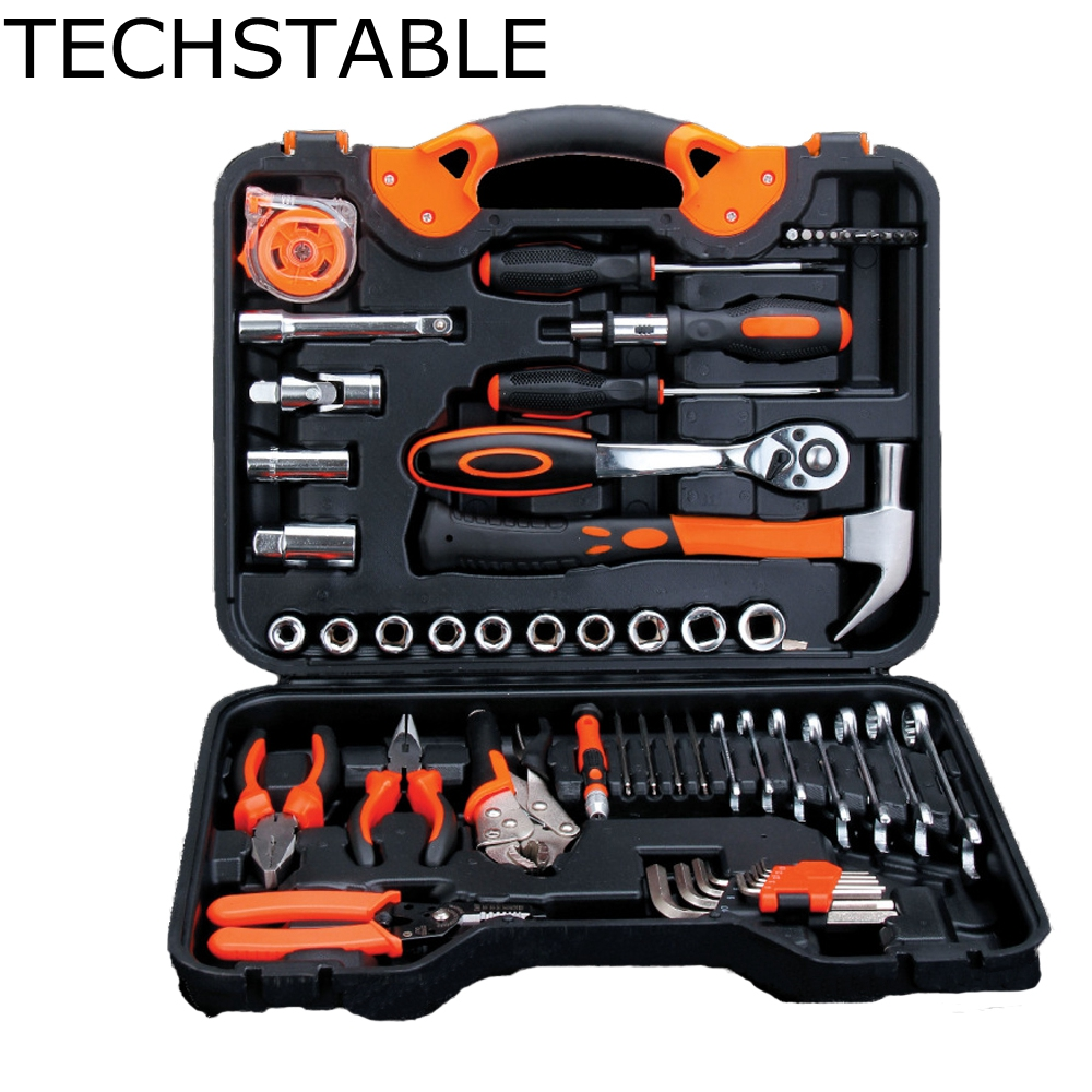 TECHSTABLE 55 Pcs Car repair tools hardware combination tools wrenches screwdrivers household kit<br>