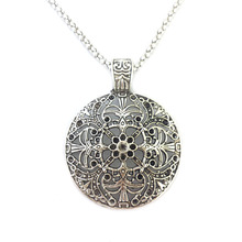 Bohemian Flower Pendant costume Long Tibetan Silver Color vintage Necklace Jewelry Jewellery bijouterie chain for Women Girl's