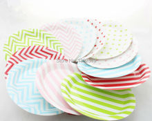 "Wholesale 48 pieces 9"" Lovely Paper Plates Polka Dots Chevron Striped for Valentine Birthday Wedding Nursery Party Tableware"