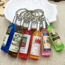Mini simulation beer bottle red wine pendant Key Chains mobile phone chain Color will send by randomly Bag Car Key chains