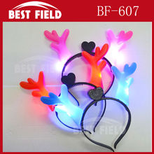 Free Shipping LED flashing head hoop Hair Accessories led headwear light deer horns for party Christmas(China)