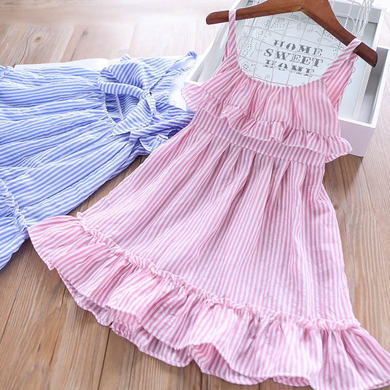 Baby Child Holiday Striped Backless Bow Suspender Dress Candy Pink Blue Color Beach Wears Summer Ruffles Sweet Girls Kids Dress