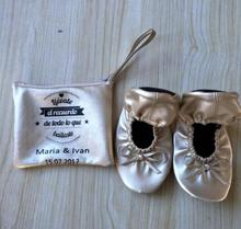 Free Shipping! wedding guest favor foldable shoes with bag gift for after party celebration