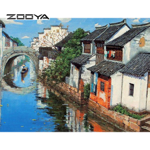 ZOOYA Needlework Diy Diamond Painting Square Drill Full Rhinestone Cross Stitch Pasted Painting China Style Water Town F43(China)