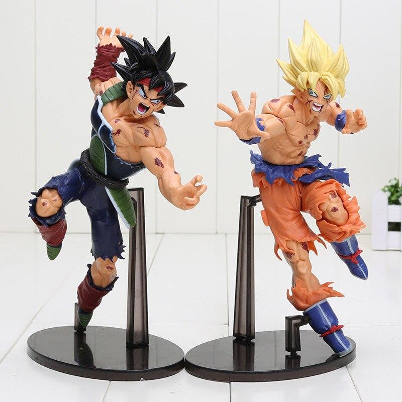 2pcs/lot 23cm Anime Dragon Ball Z Super Saiyan Son Gokou VS Barduck PVC Action Figures Collection Model Toys With Original Box<br>