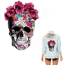 Mosaics rose Skeleton Sticker 26*18cm patch Diy T-shirt Hoodies and denim jacket thermal transfer patches for clothes