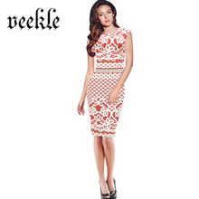 VEEKLE Short Evening Mother Of Bride Retro Vintage Rose Floral 50s Blue Red Crochet Sleeveless Casual Pencil Slim Spring Dress