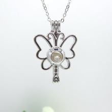 Nice Foldable Butterfly Cage with Nature Oyster Pearl Girl`s Best Wishes DIY Pendant Necklace Gift