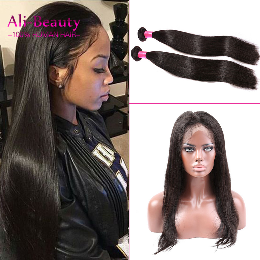 360 Brazilian Frontal With Bundles Weave Pre Plucked 360 Frontal With Bundles Straight 2 Bundle Hair Weave With Frontal Closure <br><br>Aliexpress