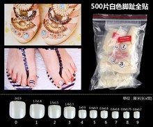 500PCS Professional Natural Acrylic French False Toe Nail Art Tips Pedicure nail foot patch DIY Decoration