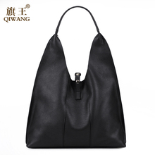 QIWANG Designer Women Handbag Luxury Genuine Leather Bags Handbags Ladies Portable Shoulder Bag Fashion Ladies Hobos Bag Large(China)