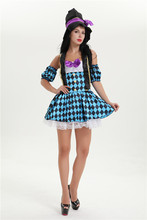 Free Shipping New Fantasy Female Mad Hatter Costume  Sexy halloween costume 5072