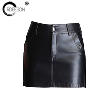 Buy ORDEESON Short Pants Mini Skirt Leather Skirt Plus Size Faux Leather Winter Black High Waist Skirts Womens M-XXXL Solid Pocket for $24.13 in AliExpress store