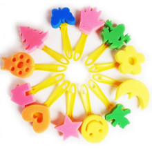 12pcs/Lot Animal/Star/House/Smile/Moon/Flower Shape Colored Child Painting Brush Sponge Roller drawing tool toys Hot Sale!