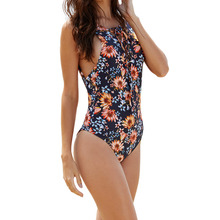 Sexy Women One Piece Swimsuit Floral Print Hollow Out Straps Front Open Back Swimwear Rompers Jumpsuit Dark Blue
