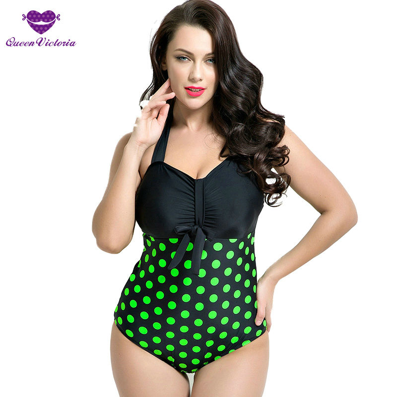 Woman Bowknot Curvy Fit Sexy 50s Style One Pieces Bathing Suit Swimwear Plus Size Cup 80DEF Polka Dots Halter Swimsuit Bcakless<br>