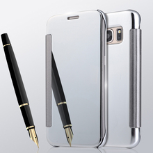 Luxury OEM Touch Mirror Smart View Clear Flip Case Cover For Samsung Galaxy S8 Plus S7 S6 Edge S5 Note 8 5 4 C5 C7 C9 Pro(China)