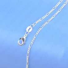 "PATICO 1PC Retail Free Shipping Top Quality Real 925 Sterling Silver Figaro Necklace Chains With Flexible Lobster Clasps 16""-30"""