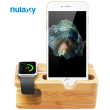 Nulaxy Bamboo Wooden For Apple Watch Charging Stand Station Desktop Holder For Mobile Phone Desk Cell Phone Charge Dock Holder(China)