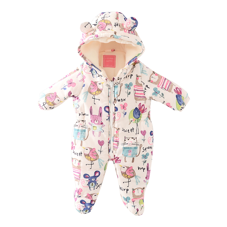 Newborn Baby Romper Costume Baby Clothes catoon Animal drawing Overall Menina Winter Warm Longsleeve Baby Rompers Jumpsuit<br>