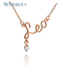 MOONROCY Free Shipping Jewelry Rose Gold Color Crystal Necklace Fashion Necklace Constellatio Leo Necklace Gift Choker for Women