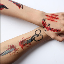 17 Types Halloween Scars Tattoos Paste Witch Spider Cat Scab Bloody Terror Wound Scary Blood Injury Sticker Halloween Decoration