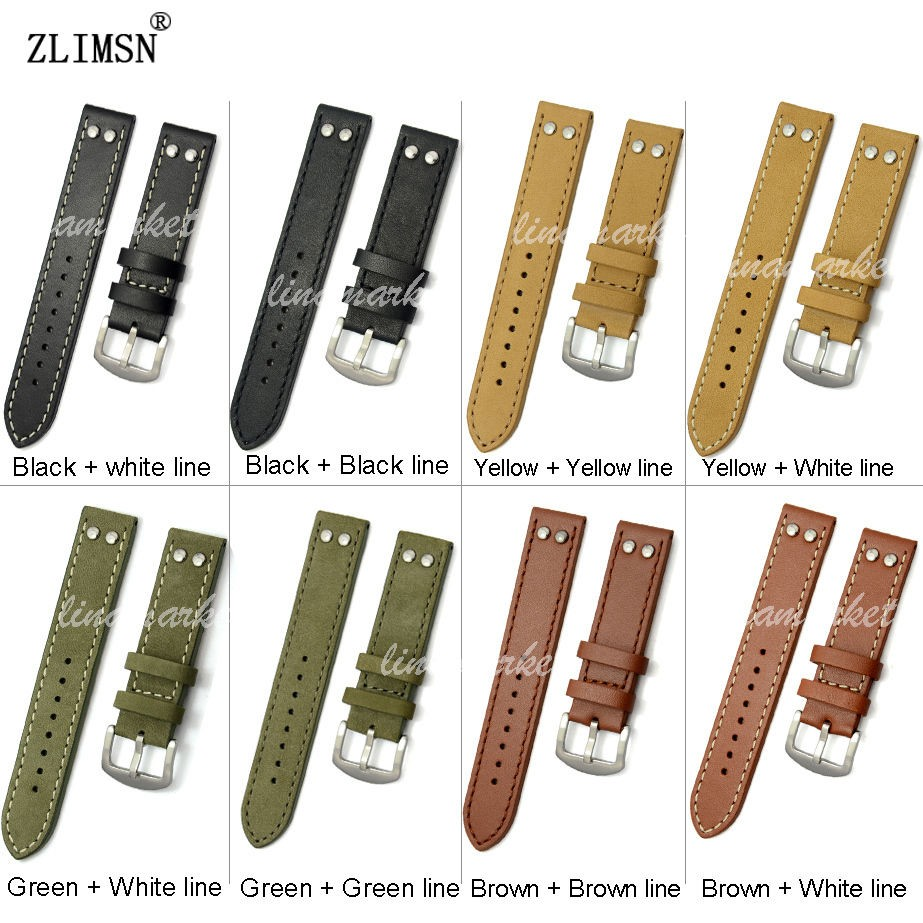 ZLIMSN 20mm 22mm Genuine Leather Watchband Watch bands Black Brown Green Yellow Pin Buckle Thick Strap Clasp Belt Relojes Hombre<br><br>Aliexpress