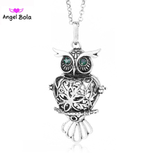 Pryme Owl Design Interchangeable Essential Oil Cage Necklace 20.5mm DIY Angel Ball Pendants Fragrance Jewelry for Women NL105(China)