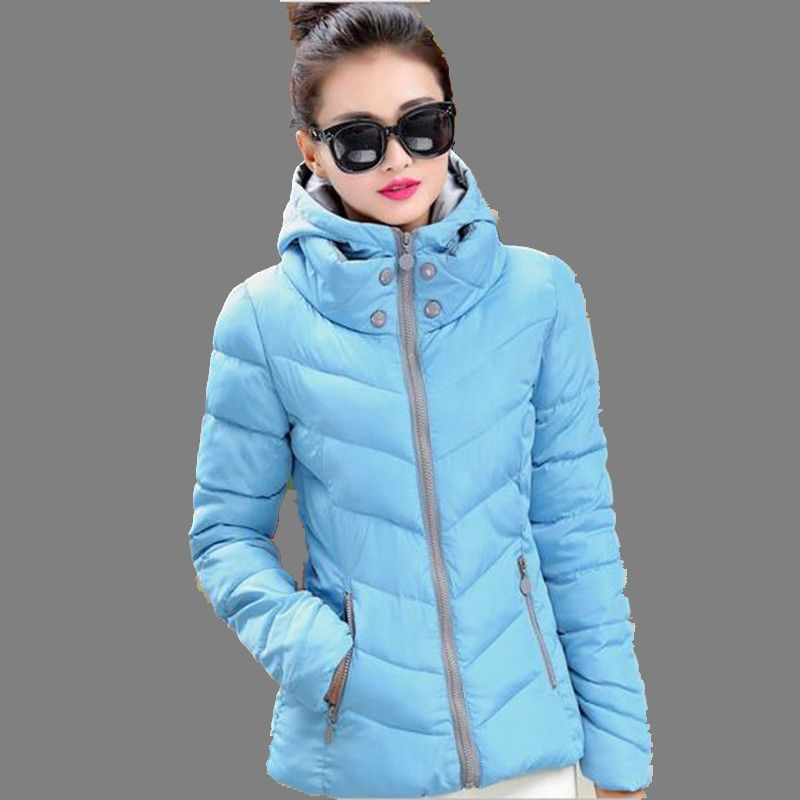 Korea New Fashion 2016Autumn Winter Slim Women Coat Leisure Hooded Pure color Big yards Warm Short Cotton Down Jacket M-3XLG0500Одежда и ак�е��уары<br><br><br>Aliexpress