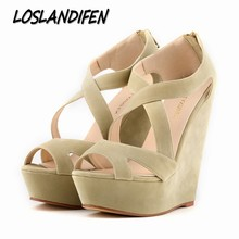 Buy Loslandifen brand New women's pumps high heels sandals shoes women wedge peep toe platforms gladiator cross strap shoe 35-42 for $21.66 in AliExpress store