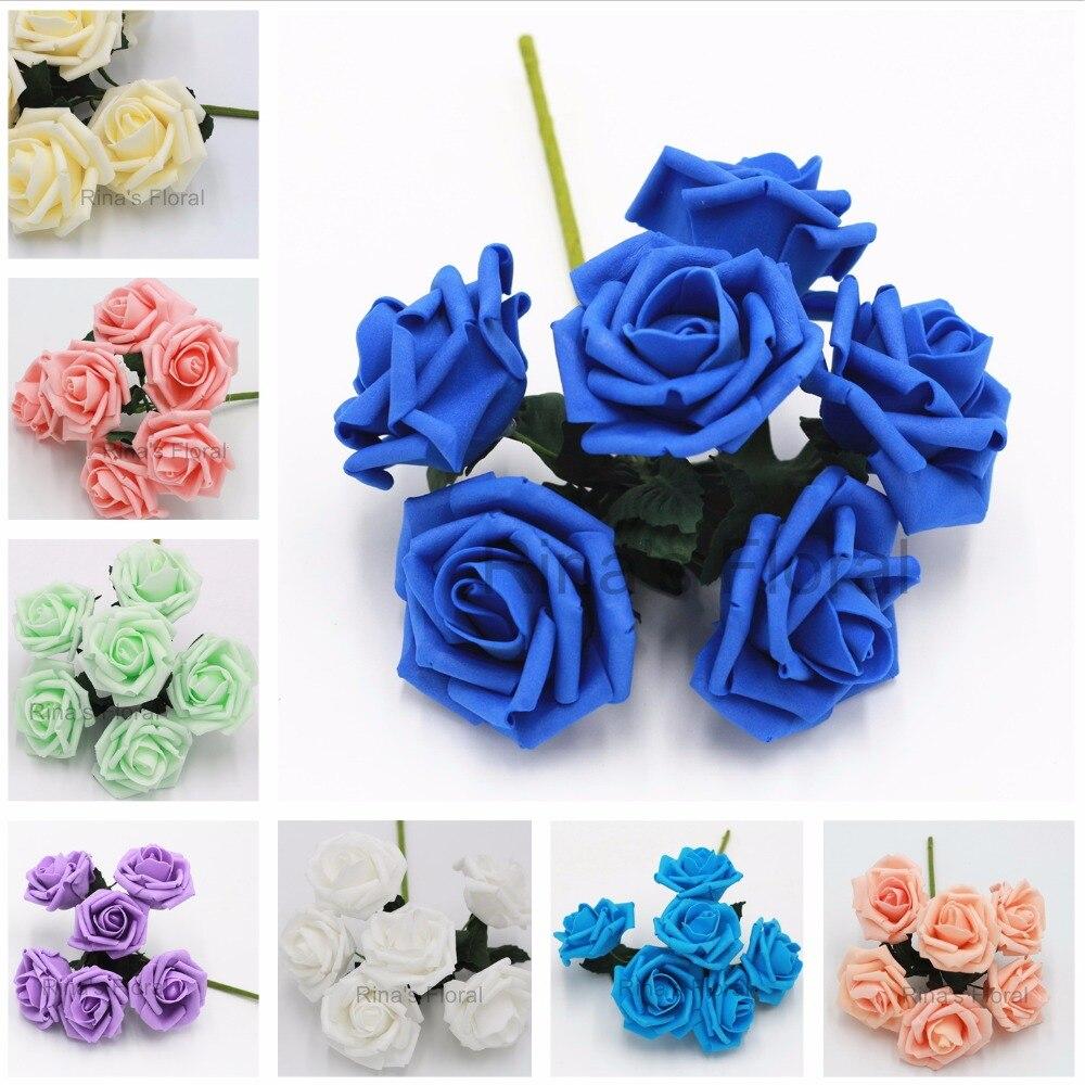 Aliexpress Buy Mint Rose Flowers Artificial Foam Roses 72pcs