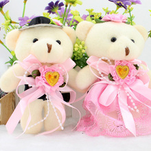 1Pair Cute  Bear Shape Stuffed Plush Toys Wedding Decorations Doll Birthday Present Kids Gifts
