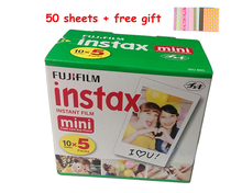 5 Pack Original Fujifilm Instax Mini 8 Film 7s 25 50s 90 Polaroids 300 Instant White Edge Photo Paper Fuji Film Camera 50pcs(China)