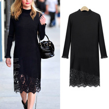 Autumn European America Style Lace Hemming Mock Neck Plus Size Loose Patchwork False Two Pieces Knitted with Lace Grace Dress(China)