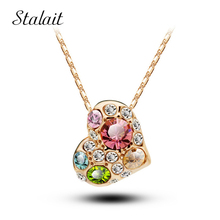 New Arrival fashon women accessories rhinestones heart design Gold Color Crystal Pendant necklace jewelry colar 85319