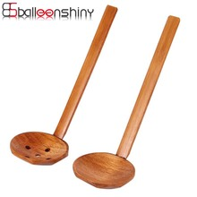 BalleenShiny Multi-Use Nature Solid Wood Ladle Serve Set Pierced Table Spoon Hot Pot Ramen Soup Buffet Slotted Spoon Colander(China)