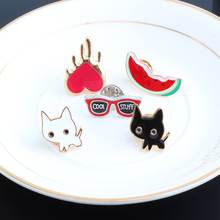 5 Pcs/set Cartoon Simple Black White Cat Glasses Watermelon Heart Enamel Brooch Decoration Brooches Jewelry For Women Men(China)