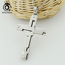ORSA JEWELS 3 Colors Available Men Stainless Steel Cross Necklace Wholesale Cross Necklace Male Jewelry OTN01(China)