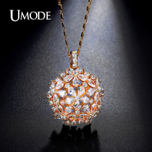 UMODE Cluster Flower Design Pear and Round Cut CZ Crystal Gold Color Necklaces & Pendant Jewelry for Women Bijoux Femme UN0222A(China)