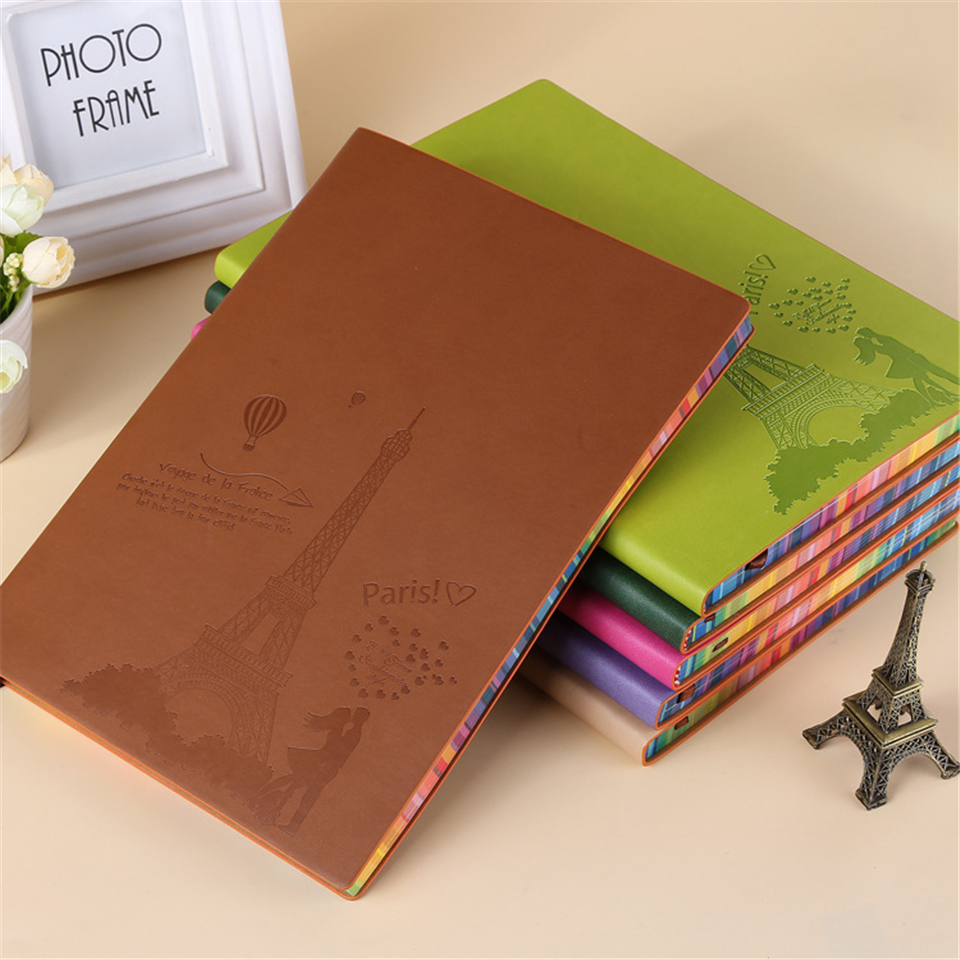 A4 Leather Notebook Diary Vintage Tower Buckle Binder Planner Agenda Filofax Sketchbook Office Supplies Study Planner<br>