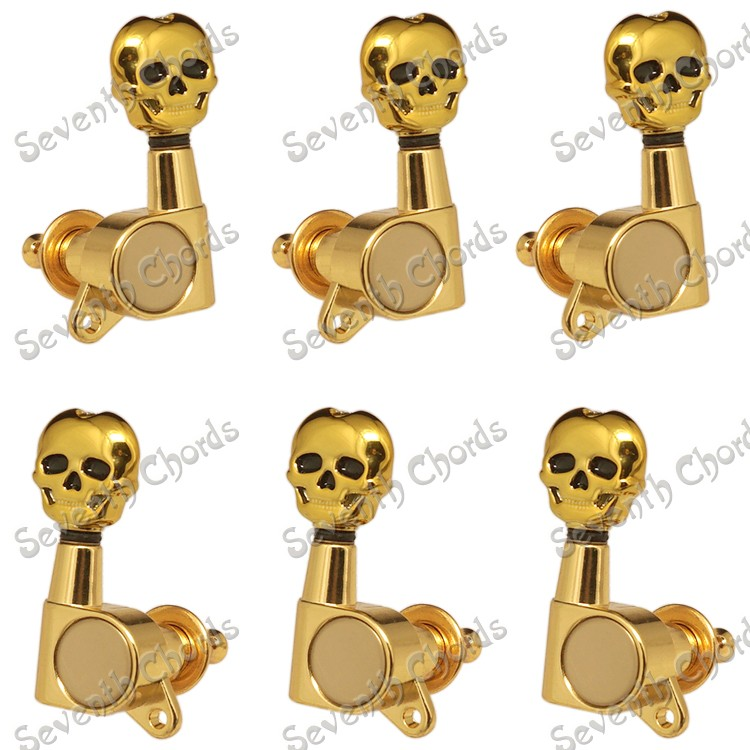 6 Pcs Gold Skull Button Sealed-gear Guitar Tuning Pegs Tuners Machine Heads for Acoustic Electric Guitar Replacement<br>