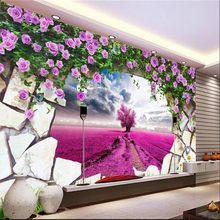 beibehang 3d home decoration Custom 3d Wallpaper Backdrop wall murals Provence dreamy lavender beautiful purple pink wallpaper(China)