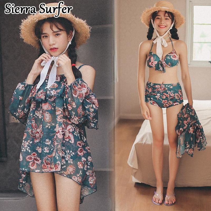 Bikini 2018 Set Sexy Swimsuit Women Top Xxl Cheap Bathing Suit 2018 Skirt Retro Winter Three Piece Printing Maillot De Bain<br>