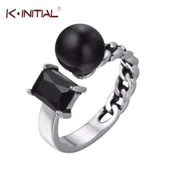 Kinitial 1Pcs 2017 New Square Ball Ring 925 Sterling Silver Black CZ Open Finger Rings For Women Men Unisex Vintage Jewelry
