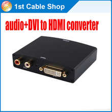 R/L audio+DVI to HDMI converter adapter up to 1080P supported DVI to HDMI Video Converter with Audio free shipping(China)