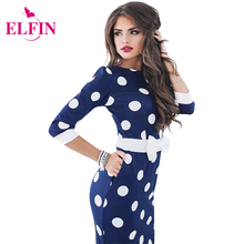 Womens Dresses 2017 Bodycon Polka Dot Party Dresses Casual Half Sleeve Sexy Elegant Midi Club Dress Vestidos De Festa LJ9219R(China)