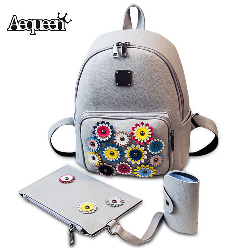AEQUEEN 2017 Fashion Women Backpack Rivet Flower PU Leather Backpacks For Teenage Girls School Bags College Student Travel Pack<br><br>Aliexpress