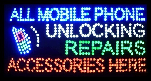 "2017 Hot Sale 15.5""X27.5"" indoor Ultra Bright flashing repairs all mobile phone unlocking accessories business shop sign of led-(China (Mainland))"